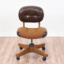 retro office chairs. Cool Retro Office Chair Featured In Brown Leather And Tweed Fabric. Twists To Raise Chairs \