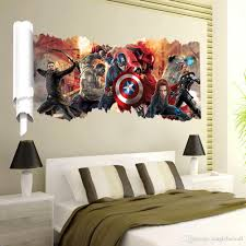 Wall Art Decor For Living Room New Avengers Scroll Wall Art Mural Decal Sticker Cartoon Movie