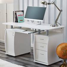 white computer desk. Deluxe Computer Desk With Cabinet And 3 Drawers For Home Office PC Table White I