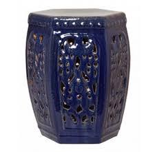 blue hexagon garden stool