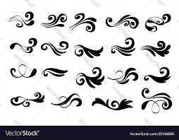 Curl Patterns Stunning Swirly Line Curl Patterns Isolated On White Vector Image