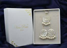 18k gold pearlother of pearl chandelier jewelry set