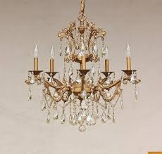15620 5 antique gold plated solid brass spanish chandelier with champagne crystals