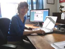 virtual home office. janet barclay in her home office virtual u