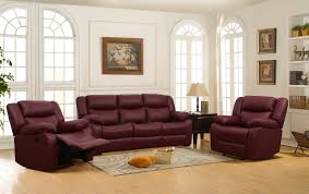 Maroon Living Room Furniture Costa 3 1 1 Seater Maroon Color Leatherette Recliner Sofa Set