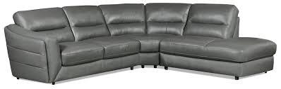 3 piece leather sectional. Modren Leather Romeo 3Piece Genuine Leather RightFacing Sectional U2013 GreySofa Sectionnel  De Droite 3 Pices En Cuir Vritable  Gris Inside Piece