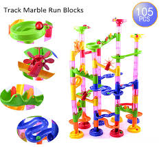 105pcs diy construction marble race run maze track building blocks