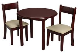 gift mark childrens cherry round table with 2 matching upholstered chairs
