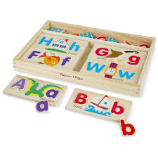 melissa doug abc picture boards educational toy with 13 double sided wooden boards and 52 letters com