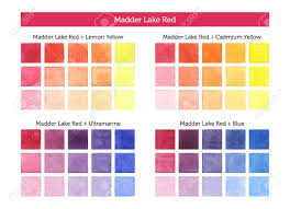 Color Chart Of Madder Lake Red Mixing With Others Primary Colors