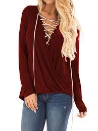 Women Plus Size V Neck Cross Pleated Long Sleeve Blouse