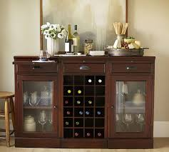 modular bar buffet with 2 glass door bases 1 wine grid base pottery barn