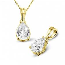 2 50 carat yellow golden solitaire pendant with pear shaped diamond