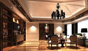designed living room with black chandelier 3d model