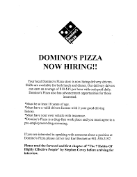Domino's Pizza hiring delivery drivers