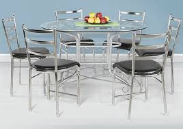glass top 6 seater dining table on