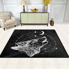 alaza vintage wolf howling moon star artwork area rug rugs for living room bedroom 7
