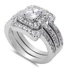 Amazon Com 3 Piece Engagement Bridal Set 925 Sterling Silver