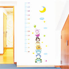 Us 3 45 20 Off Cartoon Animals Moon Growth Chart Wall Stickers For Kids Rooms Nursery Wall Decor Diy Height Measure Wall Decals Pvc Posters In Wall
