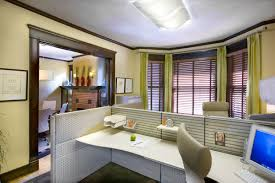 office color ideas. Divine Pale Wall Color For Home Office Ideas With White Cubical Table Also Green Window Curtains