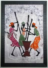 african batik framed in a rustic frame