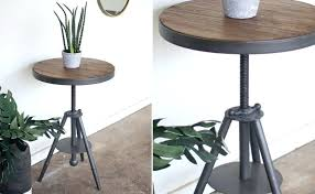 metal and wood round accent table industrial wood and metal table round side table rustic farmhouse