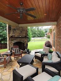 back porch idea love the ceiling and corner fireplace