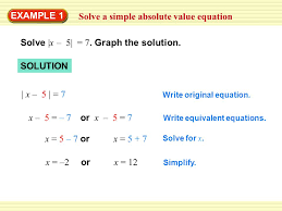 1 example 1 solve a simple absolute value equation