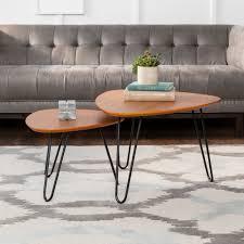 manor park mid century modern coffee table set walnut