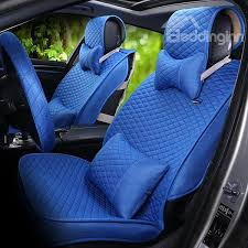 classical grid pattern pure color comfortable linen material universal car seat covers