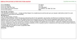 Store Keeper Application Letter