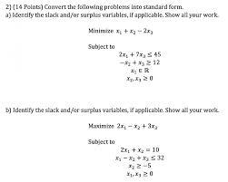 convert the following problems into standard form chegg com definition 213e 479a standard form form um