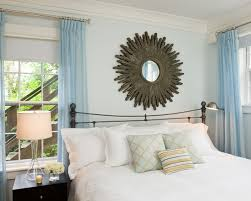 Bedroom Design: Traditional Bedroom With Dark Blue Curtains On Light ...
