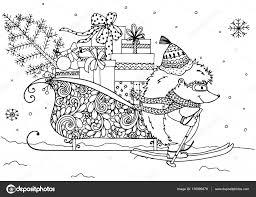 Kerst Vectorillustratie Egel En Slee Met Geschenken Doodle