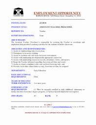 Format For Resume For Teachers Lovely Preschool Assistant Teacher