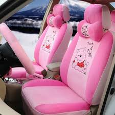 name cute winnie the pooh universal automobile plush velvet car seat cover 18pcs sets pink