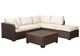 loughran beige brown sectional w cocktail ottoman outdoor by ashley