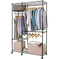 free standing garment racks closet heavy duty clothes wardrobe rolling storage