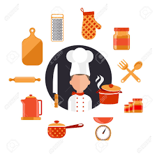Culinary Design Concepts Flat Design Concept Icons Of Kitchen Utensils With A Chef Cooking