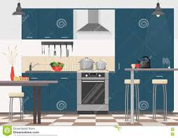 Modern Kitchen Interior Modern Kitchen Interior With Furniture And Cooking Devices