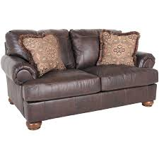 picture of axiom walnut all leather loveseat