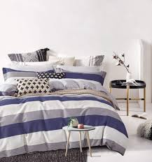 cabana stripe modern duvet cover 100 cotton twill bedding set geometric white and navy distressed rugby stripes print in dusty blue shades reversible queen