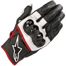 alpinestars celer v2 leather gloves black white fluo red thumb 0