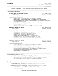 Resume Objective For Sales Route Representative Format Medical