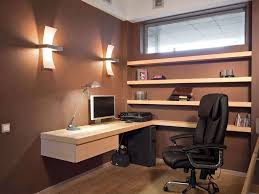 Decorations:Elegant Home Office Space With L Shape White Painted Wood  Corner Computer Desk And