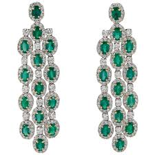 emerald diamond gold chandelier earrings for