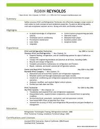 Resume Templates For Hvac Technician Resume Resume Examples