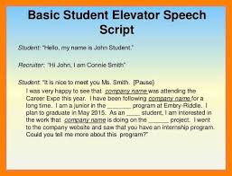 Elevator Pitch Examples For Students Elevator Speech For Students Examples