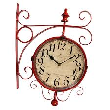 antique silent double sided wall mounted hanging clock garden hallway home decoration dust proof and