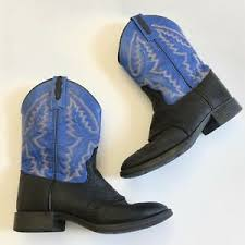 Details About Old West Children Ultra Flex R Toe Western Boots Boy Girl Blue Size 5 5